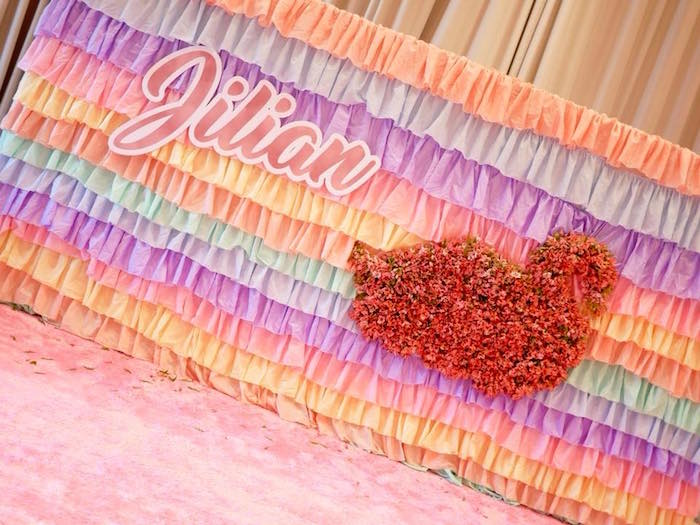 Ruffle Swan Backdrop from a Pastel Swan Birthday Party on Kara's Party Ideas | KarasPartyIdeas.com (13)