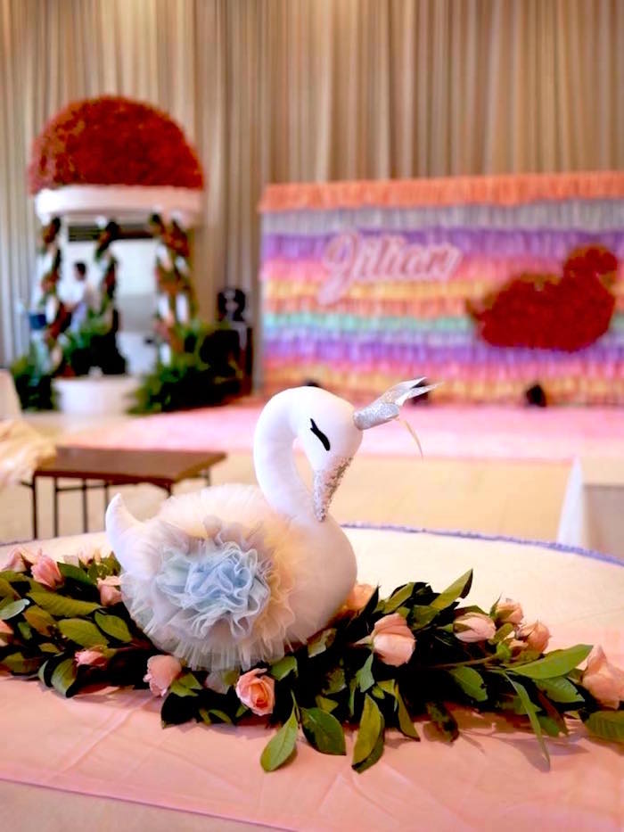 Swan Guest Table from a Pastel Swan Birthday Party on Kara's Party Ideas | KarasPartyIdeas.com (12)