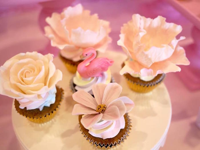 Flower Cupcakes from a Pastel Swan Birthday Party on Kara's Party Ideas | KarasPartyIdeas.com (11)