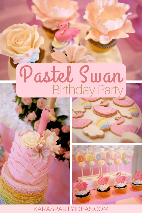 Pastel Swan Birthday Party via KarasPartyIdeas - KarasPartyIdeas.com
