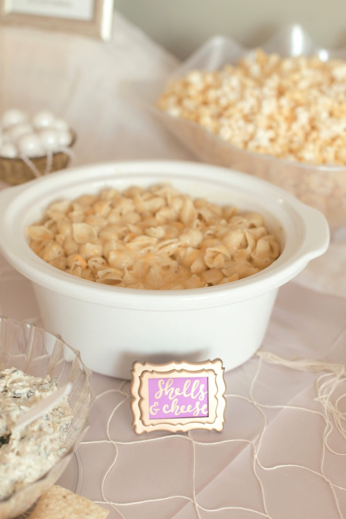 Shells & Cheese from a Pastel Under the Sea Mermaid Party on Kara's Party Ideas | KarasPartyIdeas.com (19)