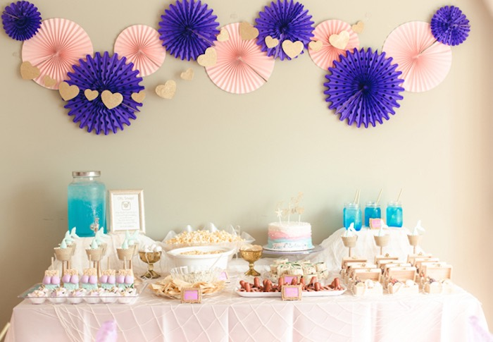 Mermaid Themed Party Table from a Pastel Under the Sea Mermaid Party on Kara's Party Ideas | KarasPartyIdeas.com (13)