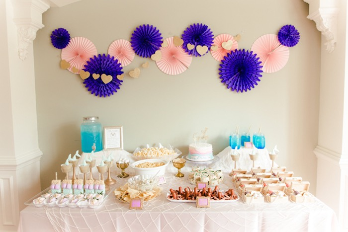 Mermaid Themed Party Table from a Pastel Under the Sea Mermaid Party on Kara's Party Ideas | KarasPartyIdeas.com (11)