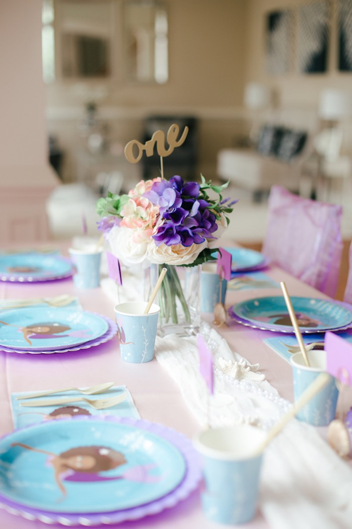 Mermaid Guest Tablescape from a Pastel Under the Sea Mermaid Party on Kara's Party Ideas | KarasPartyIdeas.com (29)
