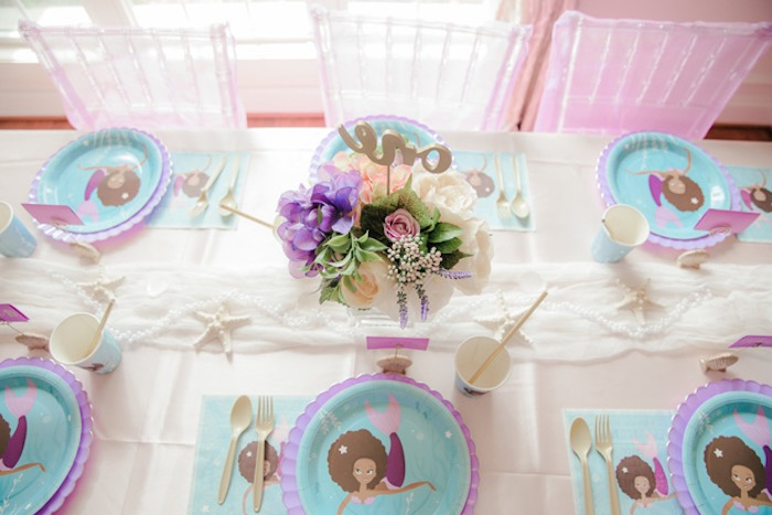 Guest Tabletop from a Pastel Under the Sea Mermaid Party on Kara's Party Ideas | KarasPartyIdeas.com (9)