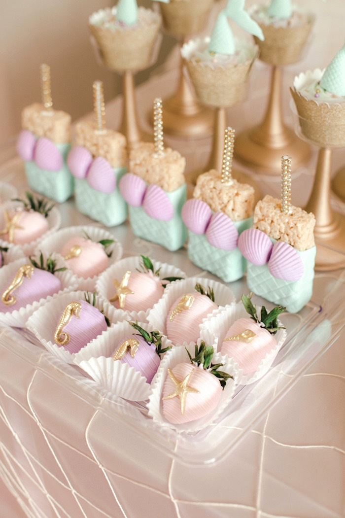 Under the Sea Strawberries + Mermaid Krispies from a Pastel Under the Sea Mermaid Party on Kara's Party Ideas | KarasPartyIdeas.com (28)