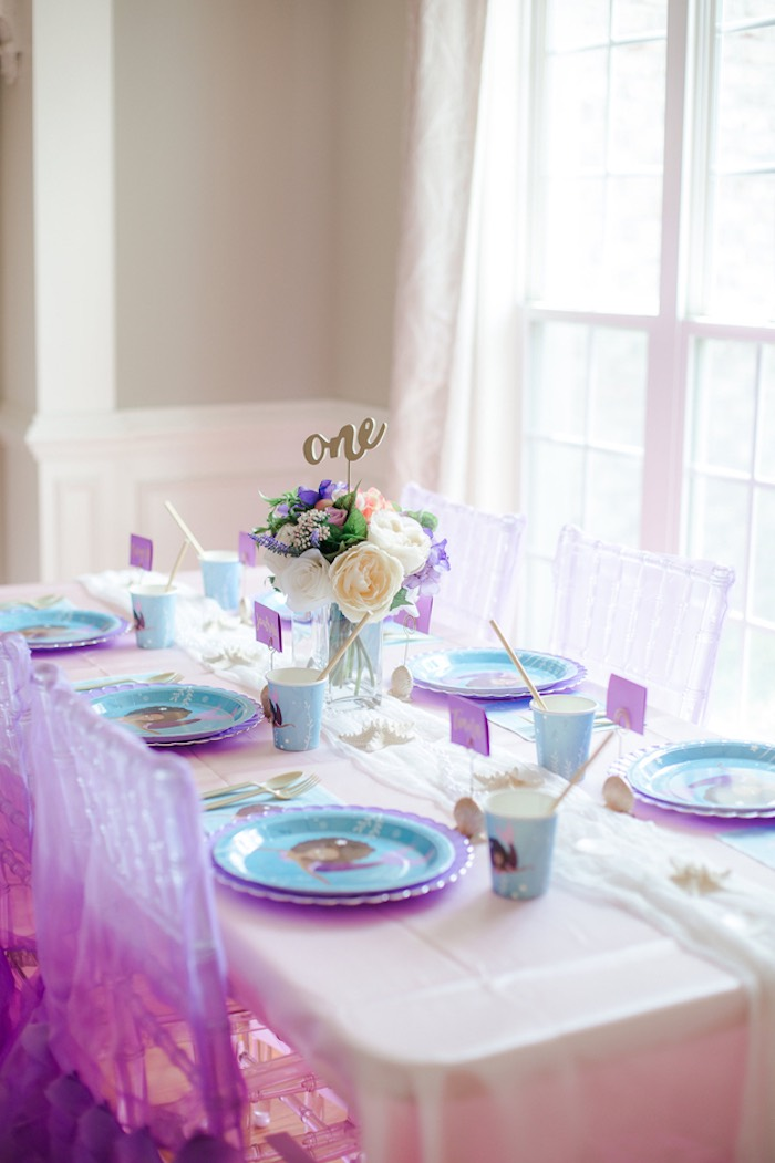 Guest Table from a Pastel Under the Sea Mermaid Party on Kara's Party Ideas | KarasPartyIdeas.com (26)