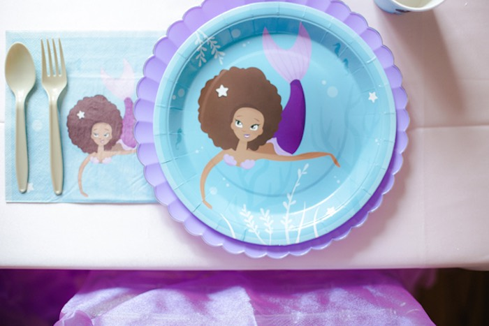 Mermaid Place Setting from a Pastel Under the Sea Mermaid Party on Kara's Party Ideas | KarasPartyIdeas.com (22)