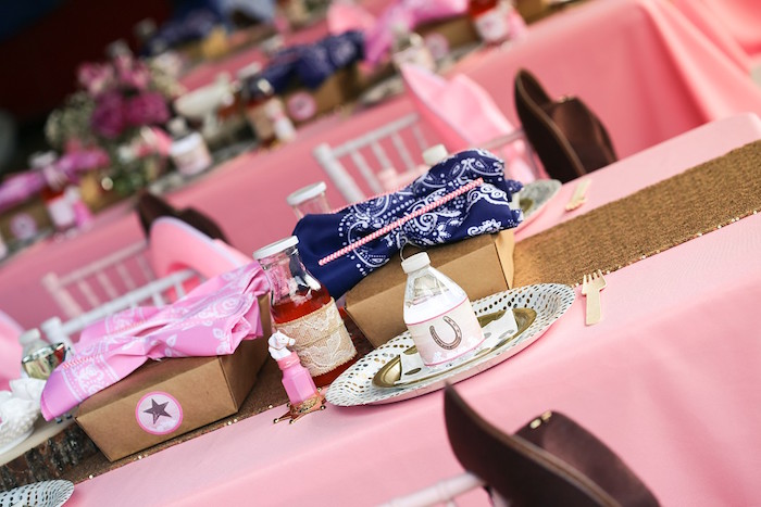 Cowgirl Themed Table Setting from a Pink Pony Birthday Party on Kara's Party Ideas | KarasPartyIdeas.com (20)