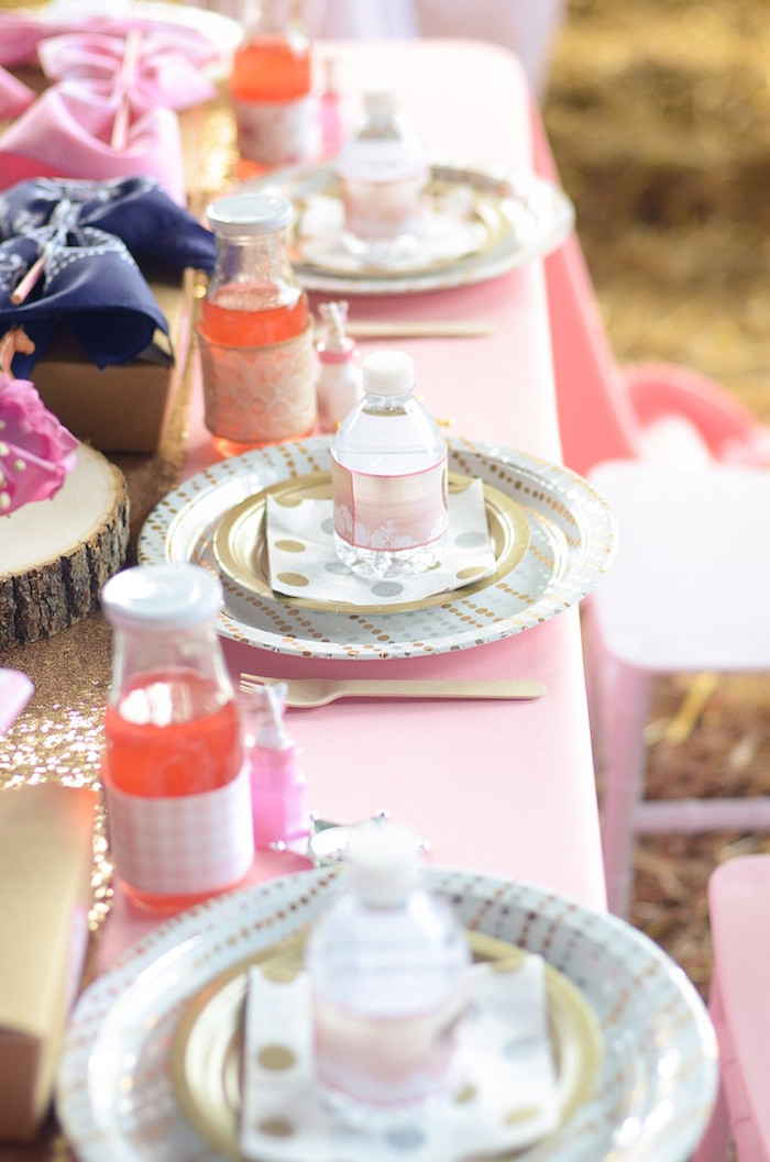 Table Settings from a Pink Pony Birthday Party on Kara's Party Ideas | KarasPartyIdeas.com (15)