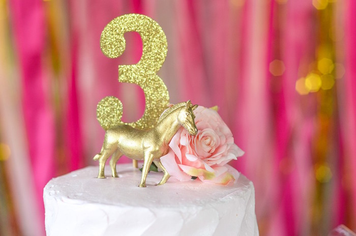 Glam Pony Cake Top from a Pink Pony Birthday Party on Kara's Party Ideas | KarasPartyIdeas.com (13)
