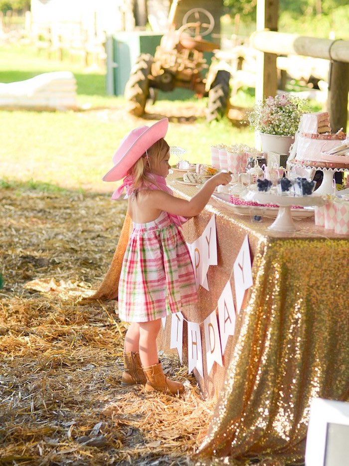 Glam Sweet Table from a Pink Pony Birthday Party on Kara's Party Ideas | KarasPartyIdeas.com (8)