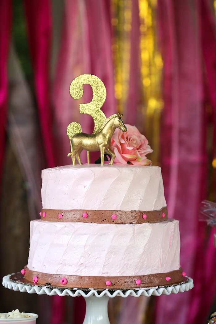 Cake from a Pink Pony Birthday Party on Kara's Party Ideas | KarasPartyIdeas.com (7)