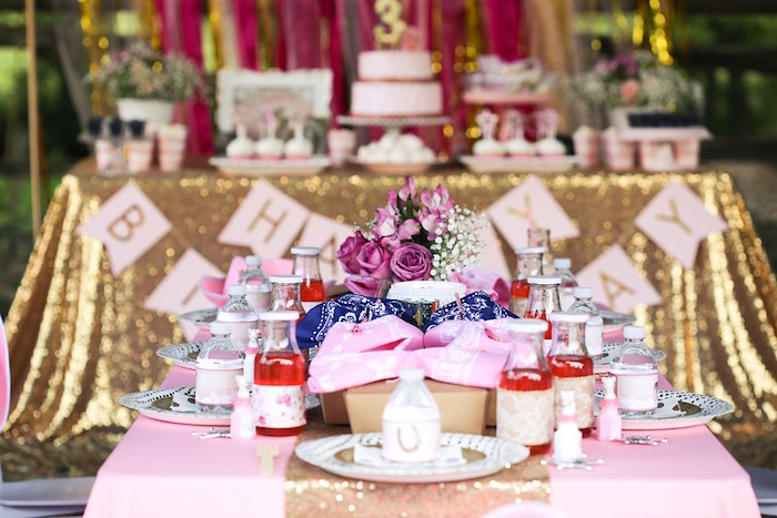 Glam Guest Table from a Pink Pony Birthday Party on Kara's Party Ideas | KarasPartyIdeas.com (5)