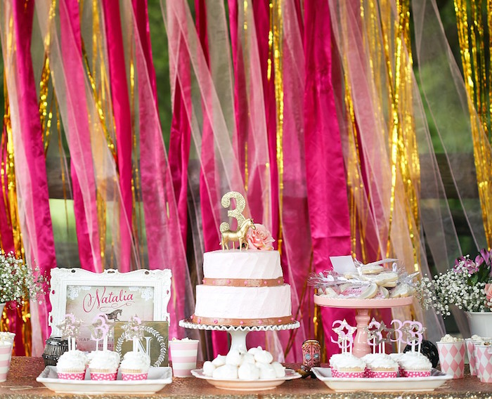 Cake Table from a Pink Pony Birthday Party on Kara's Party Ideas | KarasPartyIdeas.com (24)