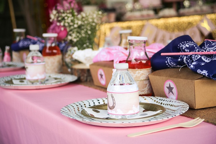 Cowgirl Themed Table Setting from a Pink Pony Birthday Party on Kara's Party Ideas | KarasPartyIdeas.com (21)