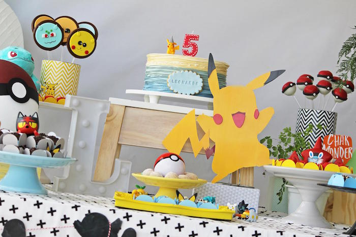 Pokemon Themed Cake Table from a Pokemon Birthday Party on Kara's Party Ideas | KarasPartyIdeas.com (15)