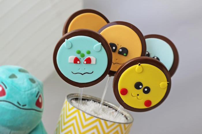 Chocolate Pokemon Character Lollipops from a Pokemon Birthday Party on Kara's Party Ideas | KarasPartyIdeas.com (13)
