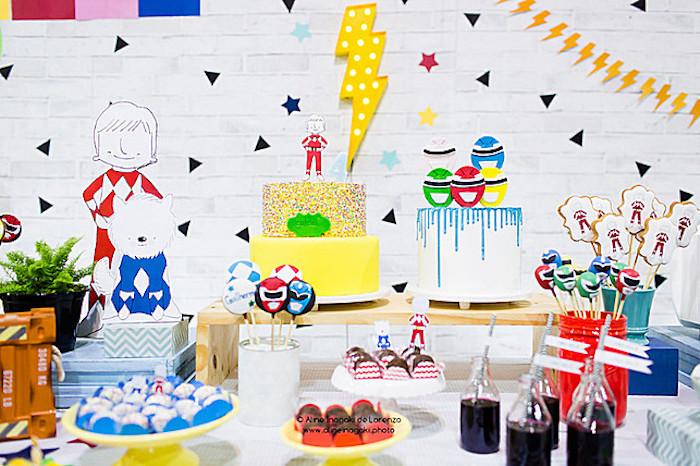 Power Rangers Dessert Table from a Power Rangers Birthday Party on Kara's Party Ideas | KarasPartyIdeas.com (14)