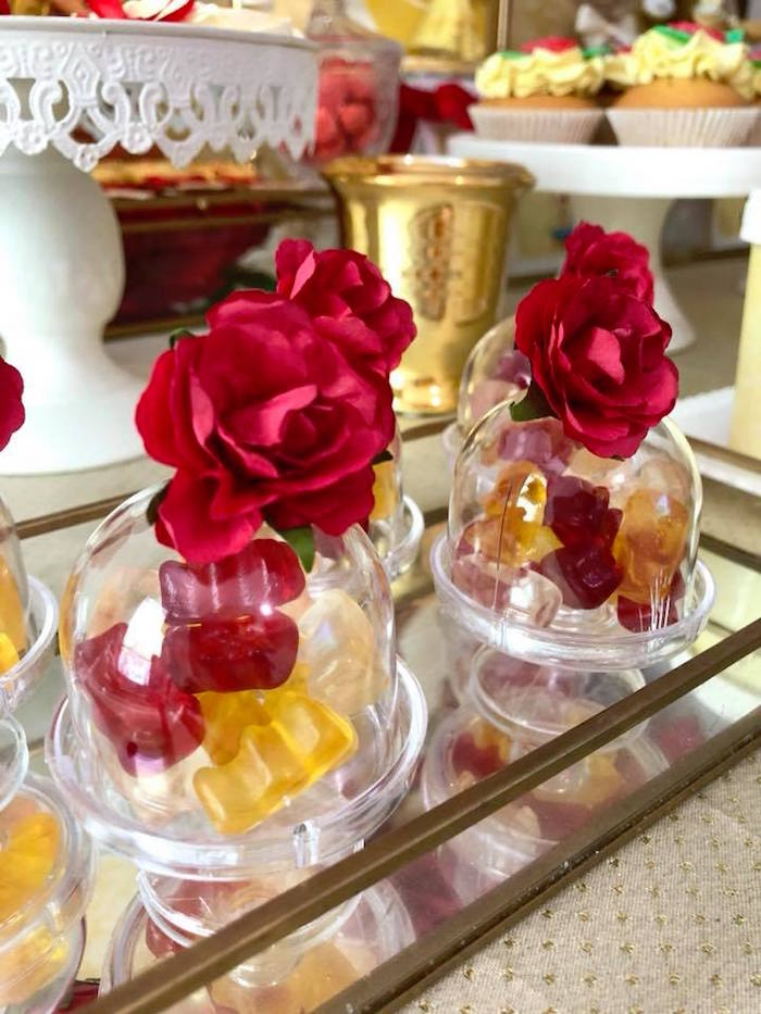 Enchanted Rose Gummy Favor Cups from a Princess Belle + Beauty & the Beast Birthday Party on Kara's Party Ideas | KarasPartyIdeas.com (12)