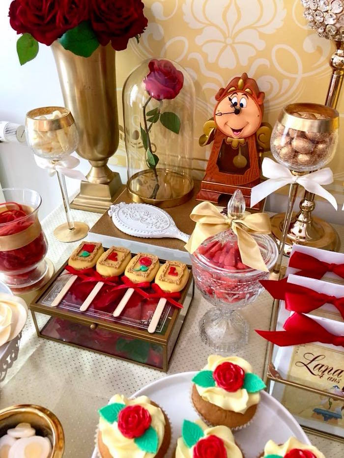 Beauty and the Beast Sweet Table from a Princess Belle + Beauty & the Beast Birthday Party on Kara's Party Ideas | KarasPartyIdeas.com (9)