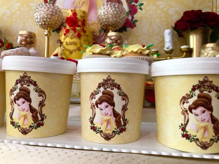 Princess Belle Ice Cream/Favor Cups from a Princess Belle + Beauty & the Beast Birthday Party on Kara's Party Ideas | KarasPartyIdeas.com (8)