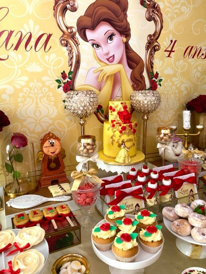 Princess Belle Dessert Table Detail from a Princess Belle + Beauty & the Beast Birthday Party on Kara's Party Ideas | KarasPartyIdeas.com (7)