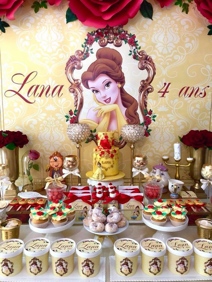Princess Belle Dessert Table from a Princess Belle + Beauty & the Beast Birthday Party on Kara's Party Ideas | KarasPartyIdeas.com (21)