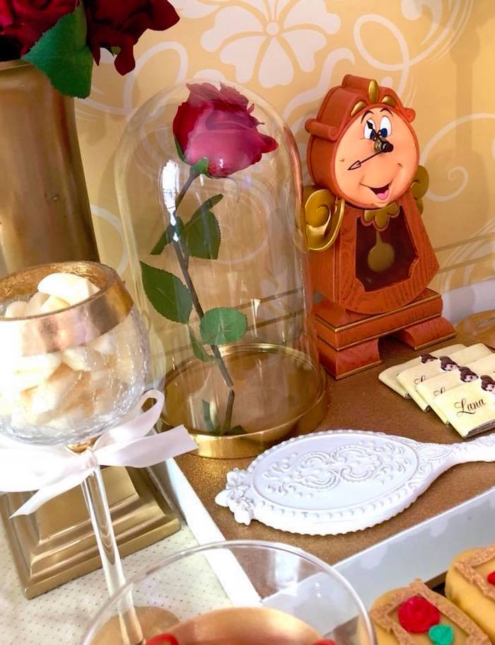 Cogsworth the Clock Prop & Enchanted Rose + Mirror from a Princess Belle + Beauty & the Beast Birthday Party on Kara's Party Ideas | KarasPartyIdeas.com (19)
