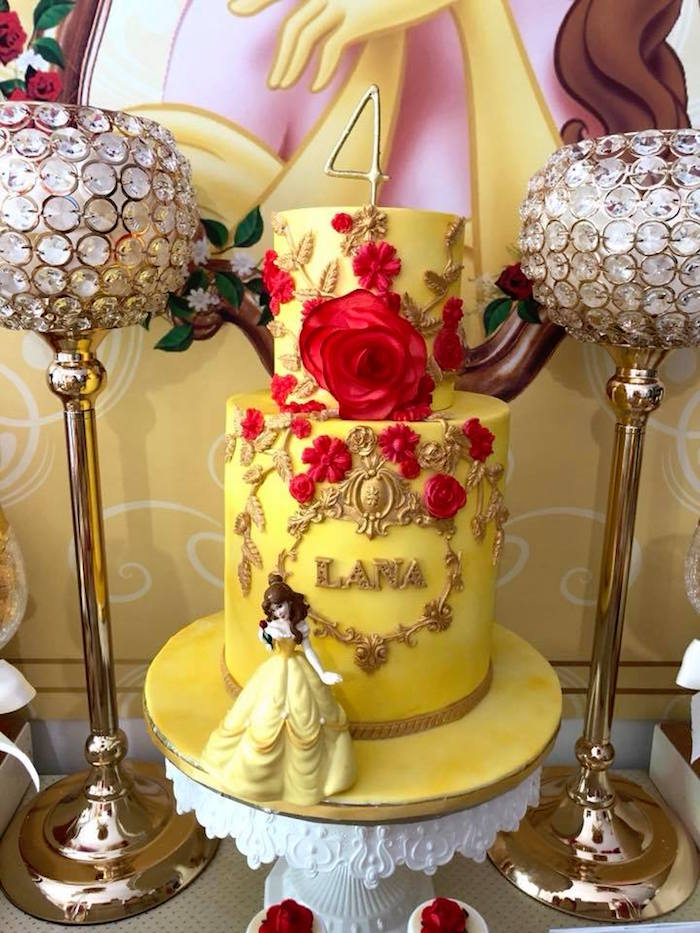 Princess Belle Enchanted Rose Cake from a Princess Belle + Beauty & the Beast Birthday Party on Kara's Party Ideas | KarasPartyIdeas.com (17)