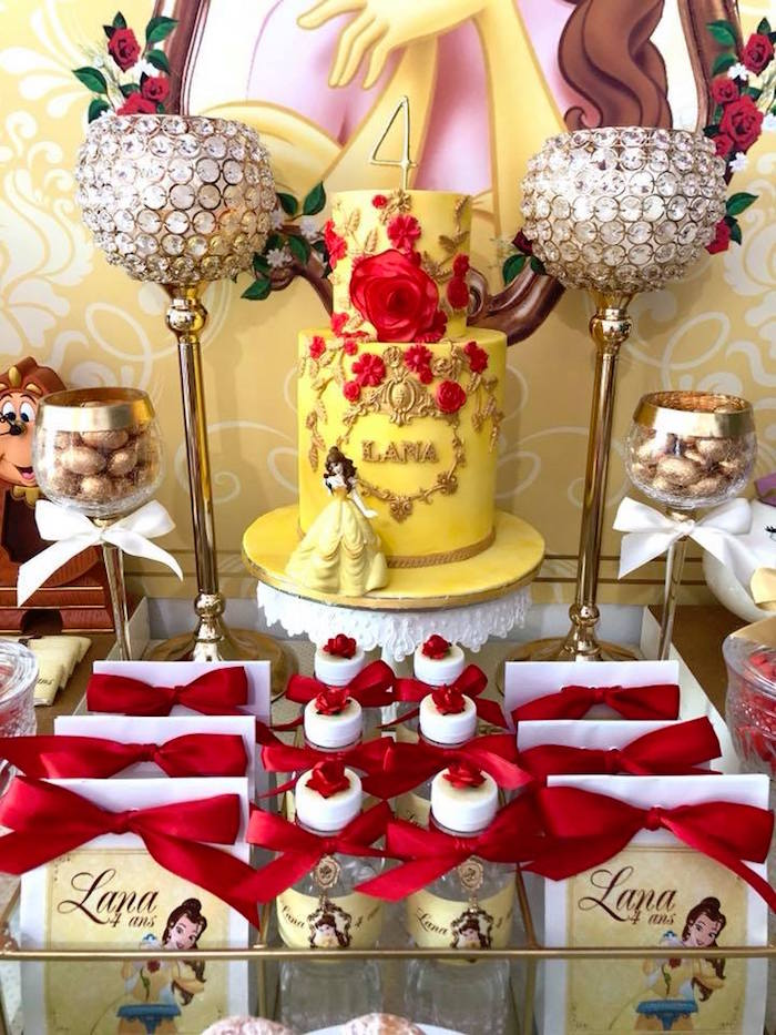 Cakescape from a Princess Belle + Beauty & the Beast Birthday Party on Kara's Party Ideas | KarasPartyIdeas.com (13)