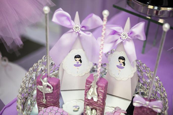 Favor Cones & Krispie Treats from a Purple Ballerina Birthday Party on Kara's Party Ideas | KarasPartyIdeas.com (9)