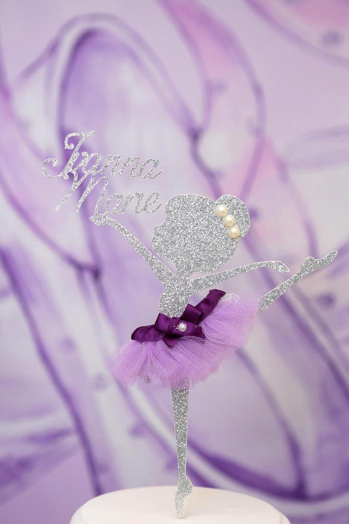 Glitter Ballerina Cake Topper from a Purple Ballerina Birthday Party on Kara's Party Ideas | KarasPartyIdeas.com (8)