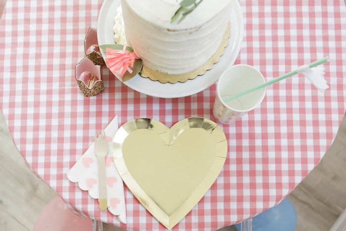Gold Heart Table Setting from a Queen of Hearts Birthday Tea Party on Kara's Party Ideas | KarasPartyIdeas.com (17)