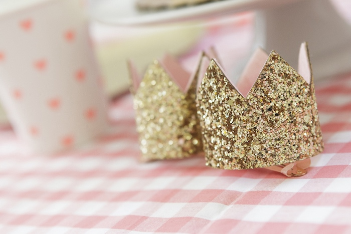 Gold Glitter Crowns from a Queen of Hearts Birthday Tea Party on Kara's Party Ideas | KarasPartyIdeas.com (16)