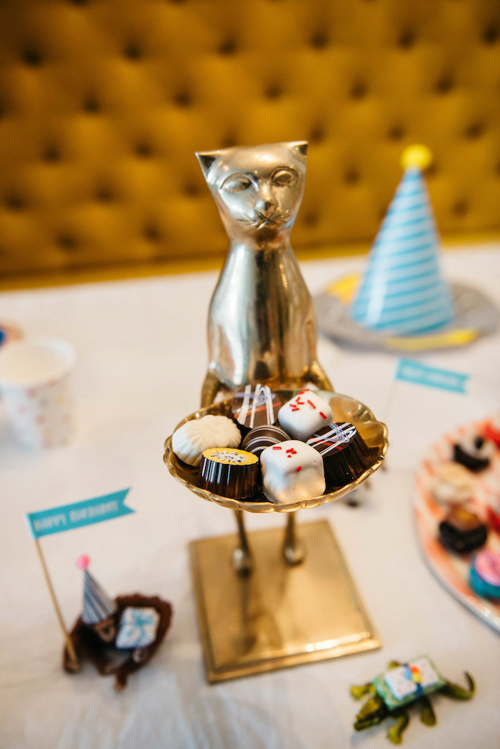 Cat Dessert Pedestal from a Rock 'n Roll Animal Birthday Party on Kara's Party Ideas | KarasPartyIdeas.com (29)
