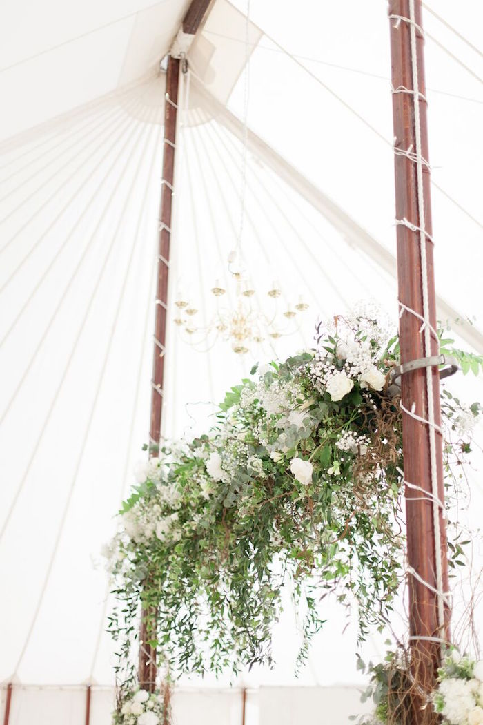 White Garden Flower Chandelier from a Romantic Garden Wedding on Kara's Party Ideas | KarasPartyIdeas.com (21)