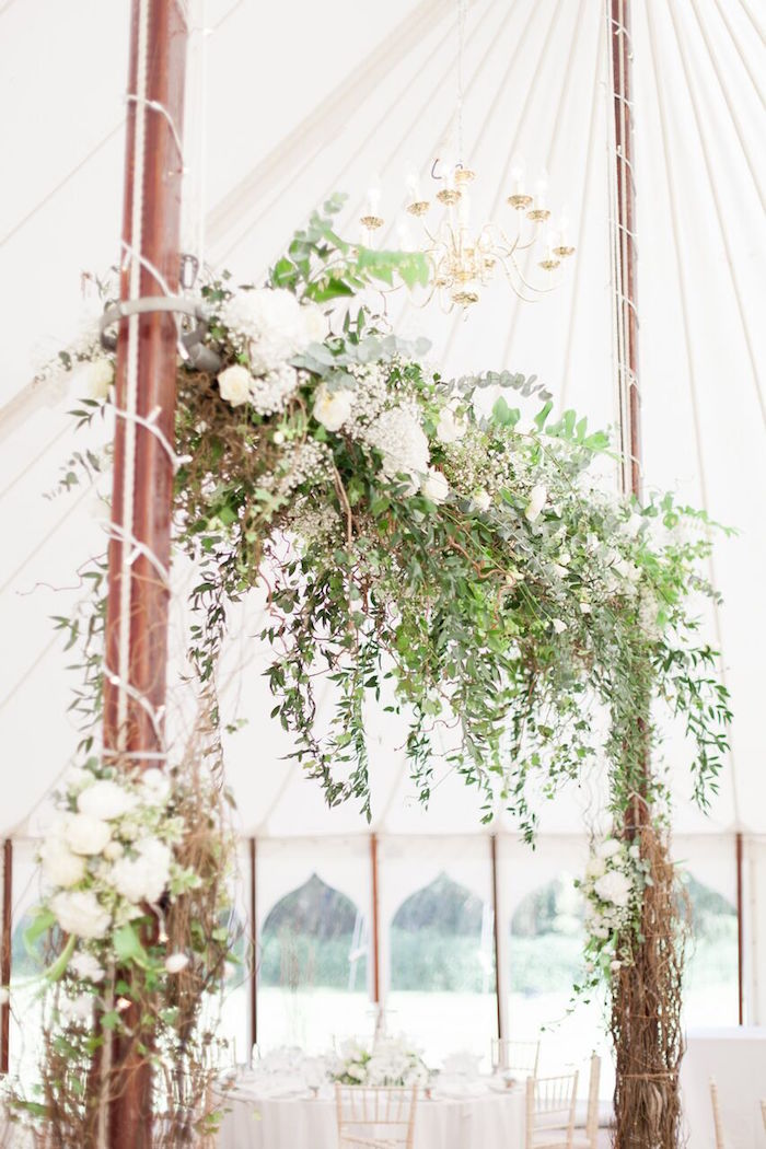 Floral-adorned Arch from a Romantic Garden Wedding on Kara's Party Ideas | KarasPartyIdeas.com (20)
