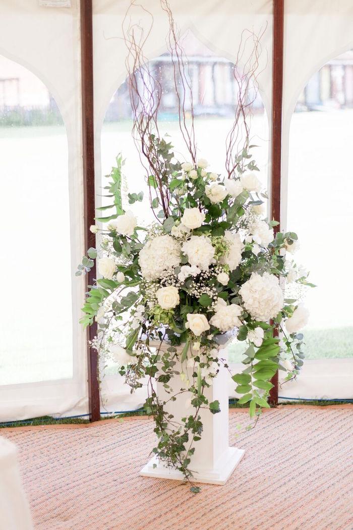 White Floral Arrangement from a Romantic Garden Wedding on Kara's Party Ideas | KarasPartyIdeas.com (19)