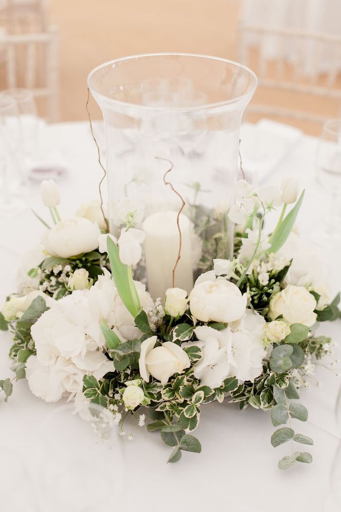 White Floral Centerpiece from a Romantic Garden Wedding on Kara's Party Ideas | KarasPartyIdeas.com (16)
