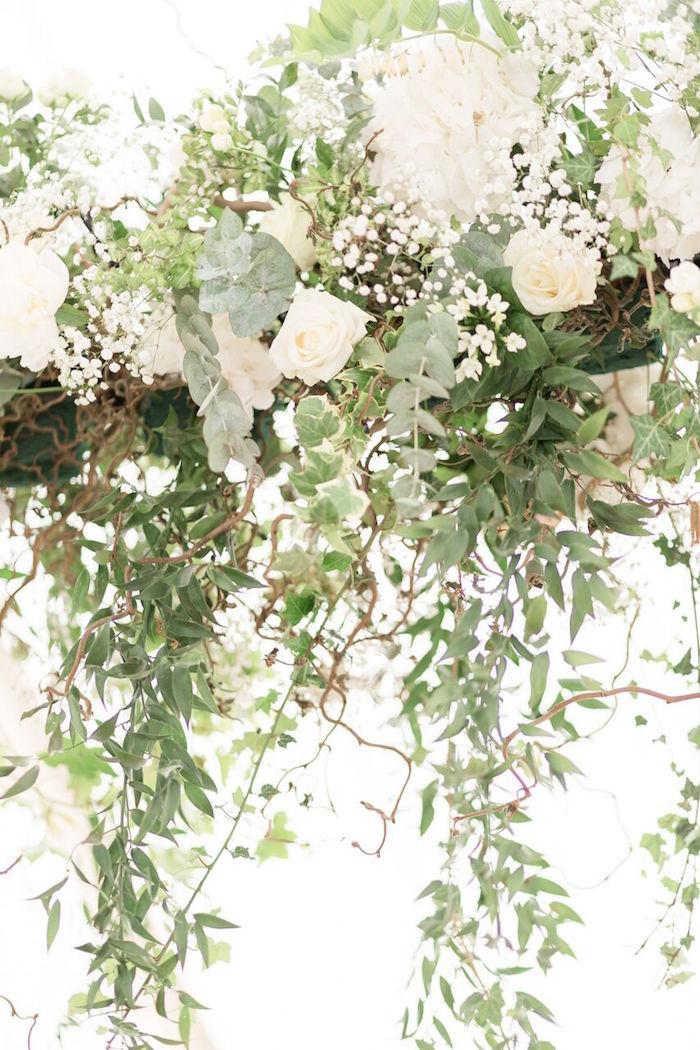Overhead Flower Installation from a Romantic Garden Wedding on Kara's Party Ideas | KarasPartyIdeas.com (15)