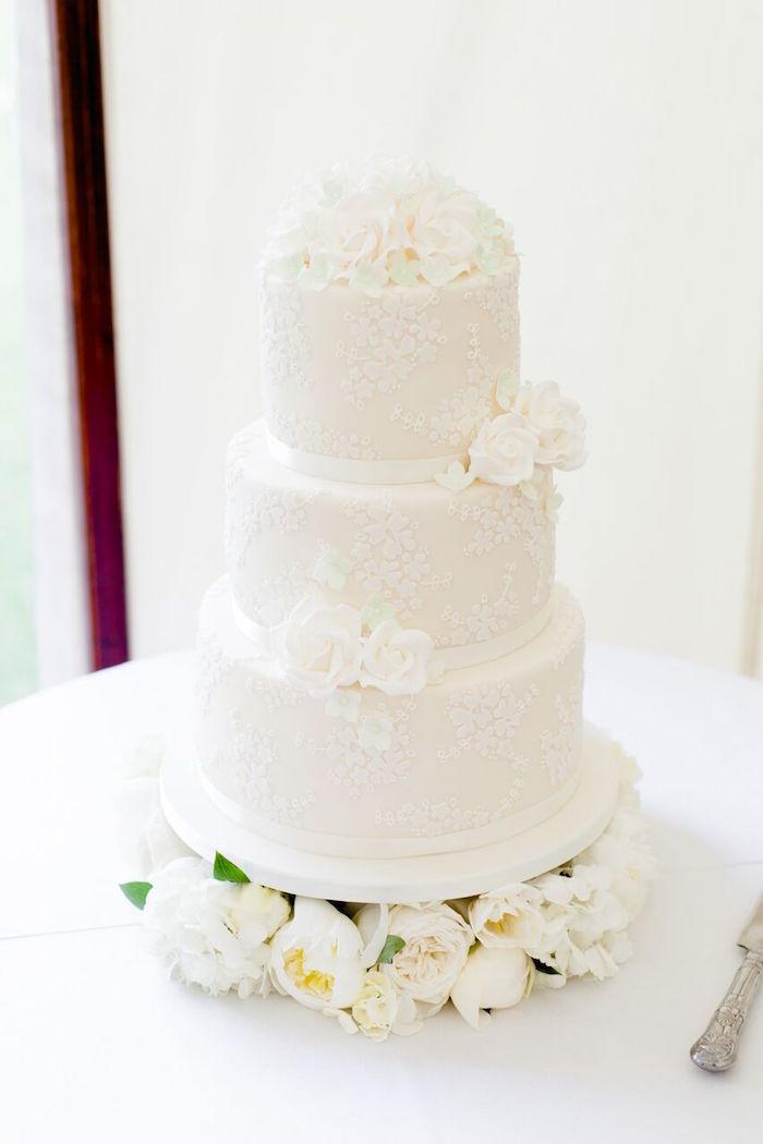 White Floral Wedding Cake from a Romantic Garden Wedding on Kara's Party Ideas | KarasPartyIdeas.com (10)