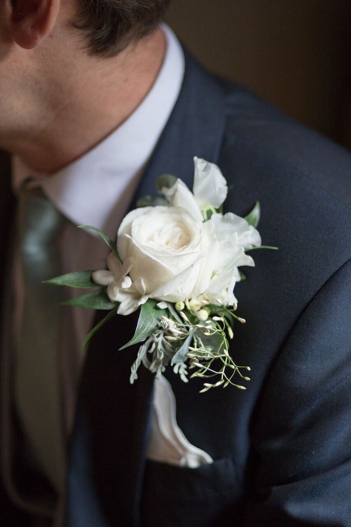 White Flower Groom's Boutonniere from a Romantic Garden Wedding on Kara's Party Ideas | KarasPartyIdeas.com (35)