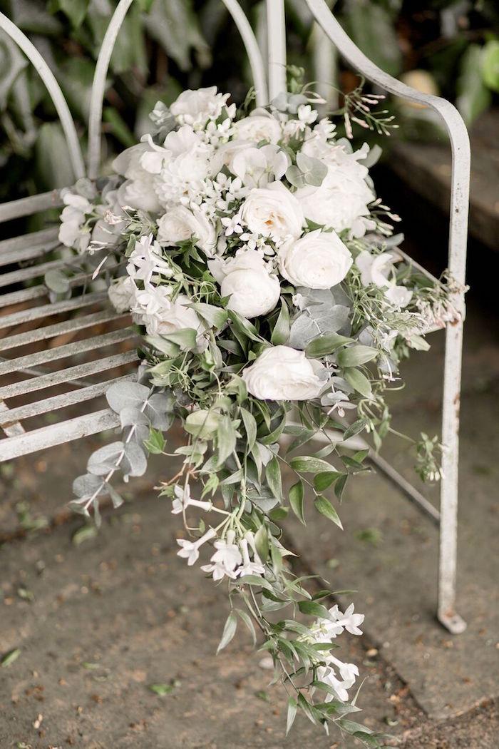 White Bridal Bouquet from a Romantic Garden Wedding on Kara's Party Ideas | KarasPartyIdeas.com (33)