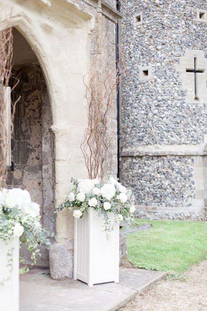 Church Entrance + Flower Pedestals from a Romantic Garden Wedding on Kara's Party Ideas | KarasPartyIdeas.com (30)