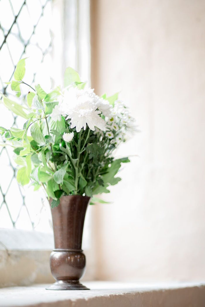 White Floral Arrangement from a Romantic Garden Wedding on Kara's Party Ideas | KarasPartyIdeas.com (29)