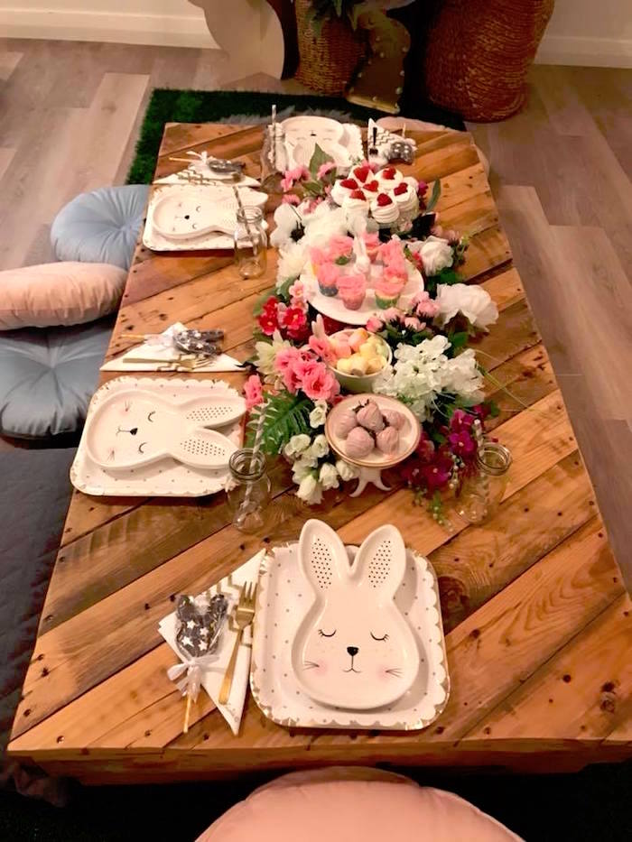 Bunny Guest Table from a Rustic Bunny Sleepover Party on Kara's Party Ideas | KarasPartyIdeas.com (13)