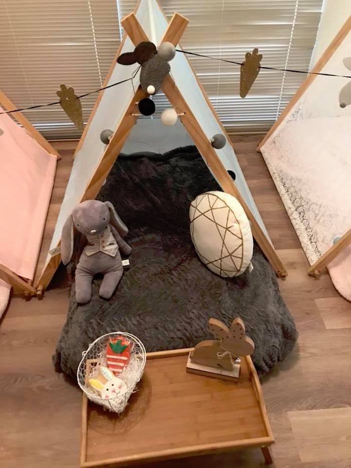 Slumber Tent from a Rustic Bunny Sleepover Party on Kara's Party Ideas | KarasPartyIdeas.com (10)