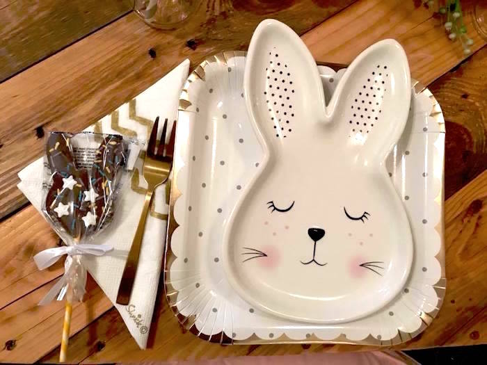 Bunny Table Setting from a Rustic Bunny Sleepover Party on Kara's Party Ideas | KarasPartyIdeas.com (8)