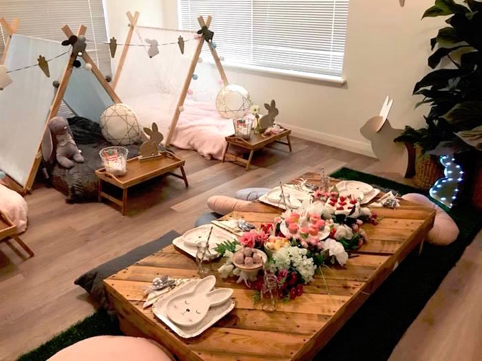 Guest Table from a Rustic Bunny Sleepover Party on Kara's Party Ideas | KarasPartyIdeas.com (7)